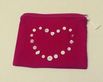 Red Heart Zipper Bag