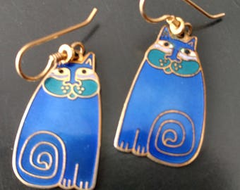 "Vintage Laurel Burch Blue ""Olivia"" Cat Dangle Earrings"