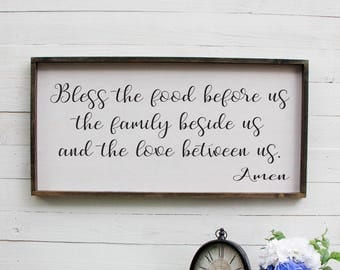 Bless The Food Before Us, Farmhouse Decor, Kitchen Sign, Extra Large Wall Art, Dining Room Decor, Rustic Wall Decor, Wooden Sign, Kitchen