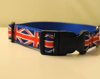Union Jack Dog Collar | Handmade Collar | British Flag design | Pet Accessories | Pet Gift | All Sizes | Made to Measure |