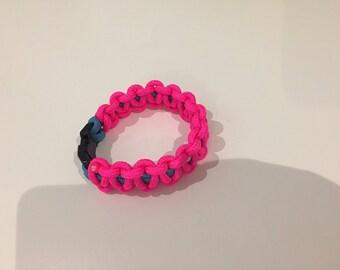 Pink and Blue Paracord Survival Bracelet