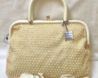 1950s Ivory Corde-Bead Bag NWT!