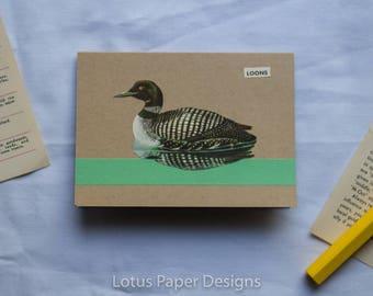 Handmade Blank Greeting Card (4-Bar) - Loon - Golden Guide to BIRDS