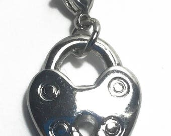 Silver Charm / Heart Locket Charm / Gift Ideas for Her
