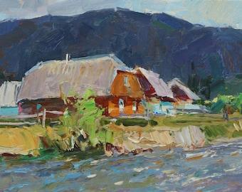 Original  oil   painting mountain landscape