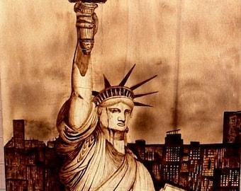 Pyrography art, woodburning art, pyrography wood burning art, rustic wood decor, Staue of liberty picture, New York image, Lady Liberty