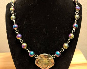 Mermaid  Scale and Rainbow Bead Necklace