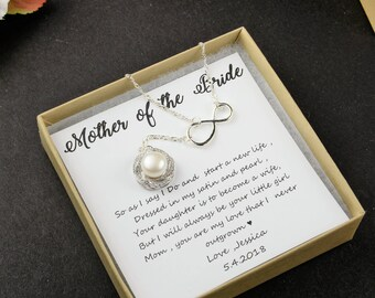 Mother of the bride gift from daughter from bride groom fresh water pearl necklace silver gold rose gold wedding gift mother of the bride