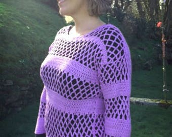 Crochet Openwork Striped Pullover