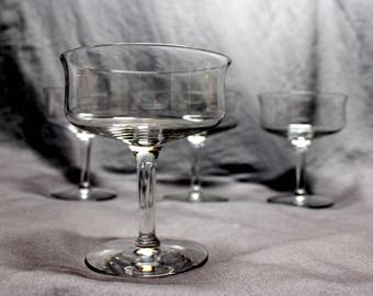 Cocktail Glasses Set of 4 Mid Century Coupe Champagne / Cocktail glasses. Flared lip, 4.5in tall, 3.5 in diameter
