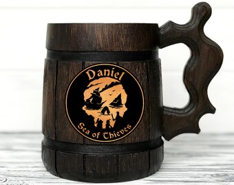 Sea Of Thieves Mug. Gamer Mug. Sea of Thieves Gift. Sea of Thieves Stein. Custom Beer Steins Wooden Beer Tankard Personal Gifts for Men #83
