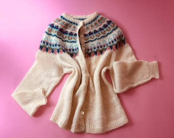 Vintage cream and patterned mohair sweater