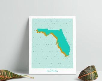 Florida Map - Florida Wall Art - Florida Print - Florida Gift - Florida Art - Instant Download - Florida Printable - Florida Download