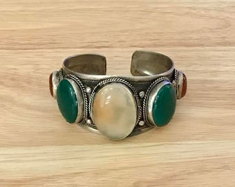 Turquoise Coral Green Bloodstone Cuff Bracelet