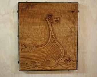 Viking ship wood carving wall art