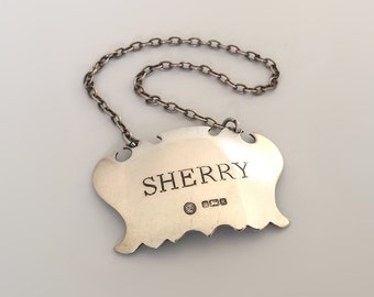 "Vintage Silver Decanter Label Engraved ""Sherry"" by Francis Howard, Circa 1982. Ref: G1600"
