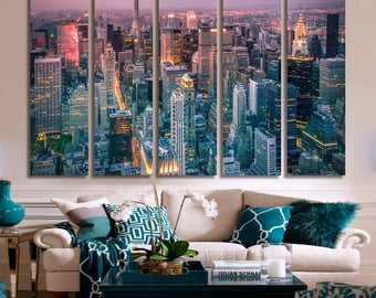 New York Cityscape Skyline Blue Canvas Wall Art Panoramic View Framed Print New York Canvas Print New York Wall Art New York Giclee Print