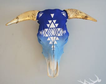 Indian Geometric Hand-painted Cow Skull