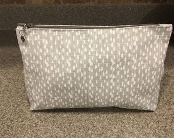 Cosmetic bag gray and white
