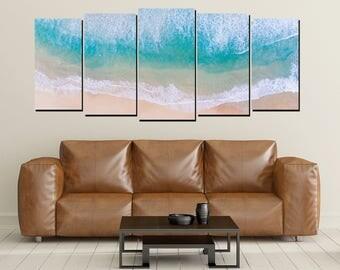 Beach Canvas Wall Art, Bondi Beach Australia Aerial View Shoreline, Large 5 Panel Home Wall Decor, Beach House Decor