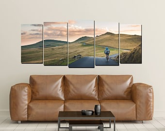 Mountain Biking Canvas, Cycling Cyclist Bicycling Dawn Road Sunset Dusk  Large 5 Panel Big Sky Wall Decor Foothills Path