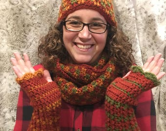Scarf,Hat, and Fingerless gloves set