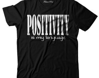 Women's Black T-shirt with inspirational quote (Positivity)