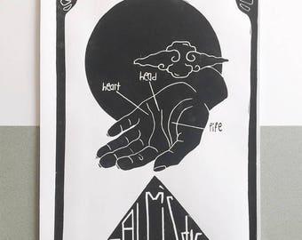 """linoprint """"palmistry"""" A4"""