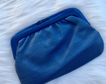 Vintage Lucite Frame Bag Kiss Lock Made in Italy 1970s Clutch Blue Purse