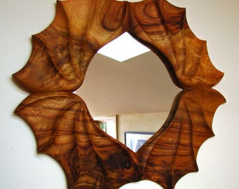 Wall Mirror Wood Hand Carved Frame