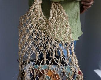 Handmade Straw Market Tote Bag / Vintage