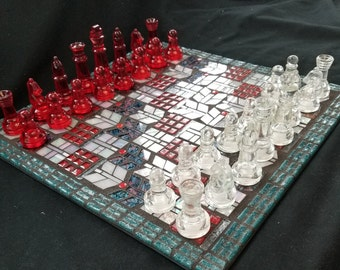 All glass mosaic chess set including the pieces and the board.