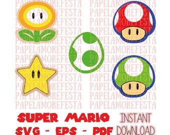 Super Mario Power Ups Set - SVG - EPS - PDF - Cut File - Super Mario Theme Party Set
