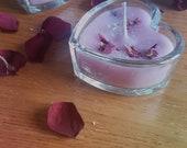 Love heart rose petal candle
