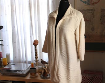 vintage 1970s cardigan tunic with collar . cream off white open sweater jacket, acrylic knit . womens small medium large SEE MEASUREMENTS