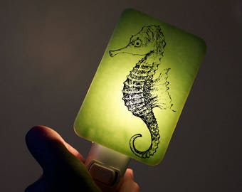 Seahorse Nightlight on Mint Green Fused Glass Night Light - Gift for Baby Shower or Nature Lover by Happy Owl Glass - Nautical Nightlight