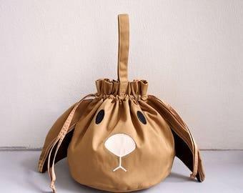 Bunny Drawstring Bag, Bunny Pouch, Bunny Purse, Drawstring Women, Drawstring Bag Kids, Drawstring Purse, Rabbit Purse, Twinning, CAMEL color