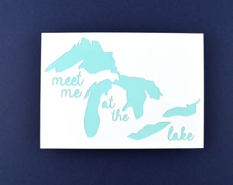 Lake House Decor, Great Lakes Art, Small Art, Original Meet Me at the Lake Sign in Teal, White