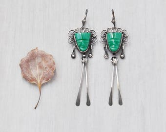 Green Glass Mask Earrings - sterling silver Mexican tribal faces with long dangles - recycled vintage with new lever back ear wires