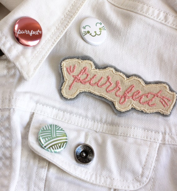 Purrfect patch | adorable cat phrase patch. Cat patch. Cat patches. Cute jacket patches. Kitten iron on patch. Typography patch.
