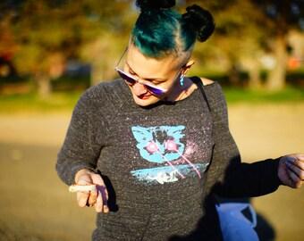 Meta Laser Cat Sweatshirt, Royal Apparel Sweatshirt, Funny Cat Shirts, Cat Lady Gifts, Laser Space Cat