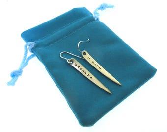 Vampire Fang Earrings, Careful I Bite, hand stamped vintage fork tine earrings by Kathryn Riechert
