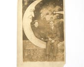 RESERVED Paper Moon Postcard Mother with Two Gentlemen RPPC Souvenir Real Photo Postcard 1910