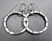 Silver Circle Earrings - Sterling Silver Open Circle Earrings - Spokes and Dots Stamped Earrings Handmade Dangle Hoop Earrings