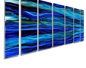 ON SALE! Large Blue & Aqua Modern Metal Wall Art, Ocean Inspired Abstract Painting, Contemporary Home Decor  - Oceanic Blue by Jon Allen