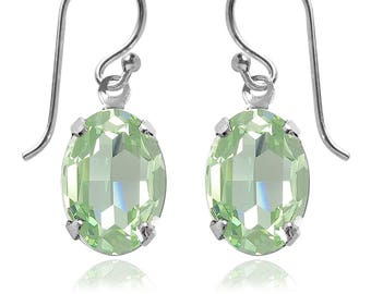 Swarovski Crystal Oval Drop Earrings Sterling Silver Chrysolite – CHOICE OF COLOURS