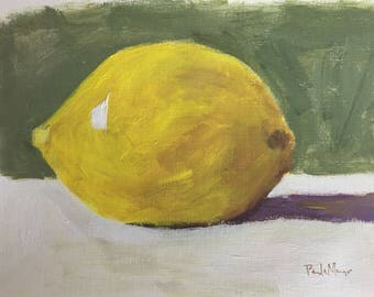 lemon painting of lemon 9x12 original painting on paper yellow and green