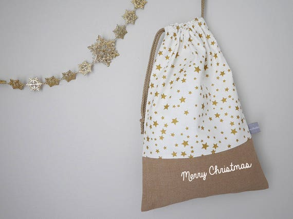 Customizable drawstring pouch - Christmas - Stars - Gold - White - Merry Christmas - Holidays - Wrapping gift - cuddly toy - slippers - toys