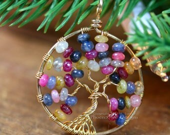 14K Gold Ruby Sapphire Necklace Tree of Life Pendant September Birthstone Jewelry Blue Pink Red Yellow White Sapphire Fine Jewelry RTS