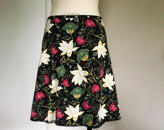 Flower Skirt, Cotton Skirt, one size, Snap Skirt, Black Skirt, Erin MacLeod, womens skirt, adjustable skirt,